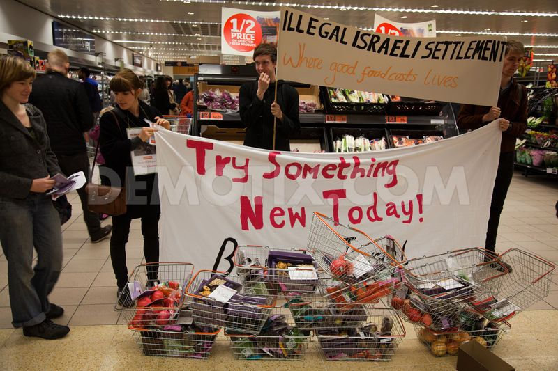 Human rights activists erected a symbolic Israeli settlement in the Sainsbury's supermarket in Islington in protest at Sainsbury's procurement of goods from Israeli settlements in the occupied West Bank considered illegal under international law.